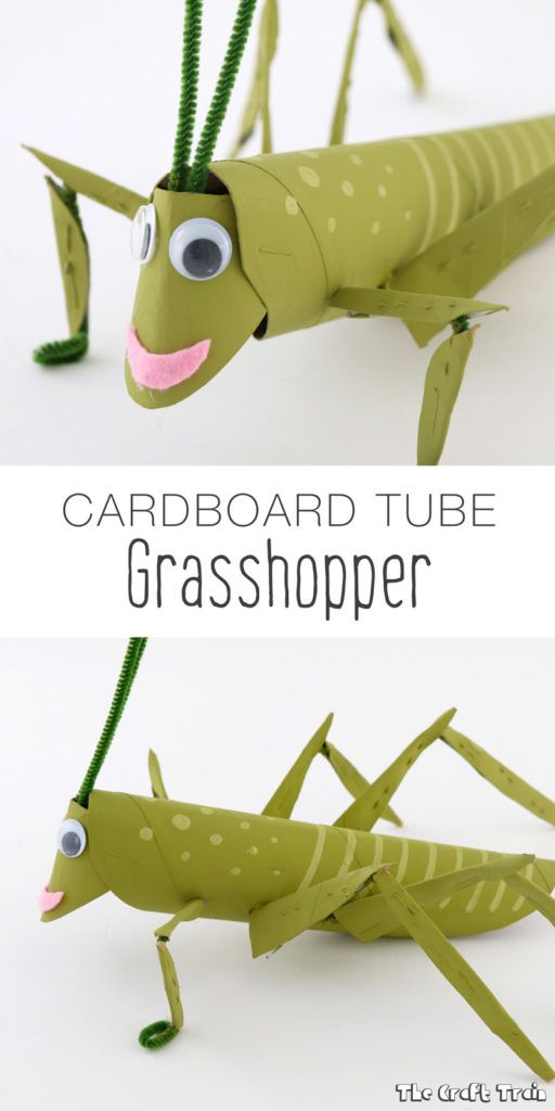 Cardboard tube grasshopper recycling craft for kids