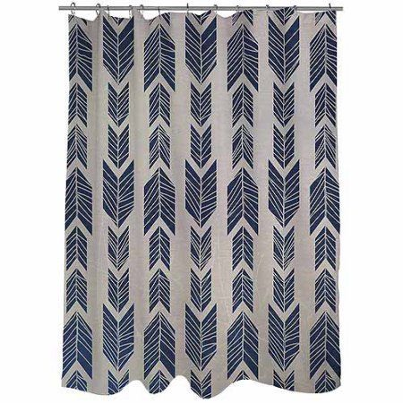 "Thumbprintz Featherwood Blue Shower Curtain, 71"" x 74"""