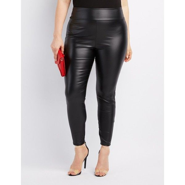 Charlotte Russe Coated High-Rise Leggings ($23) ❤ liked on Polyvore featuring plus size women's fashion, plus size clothing, plus size pants, plus size leggings, black, plus size leather pants, high waisted leather leggings, high-rise leggings, plus size womens leggings and high waisted leather pants