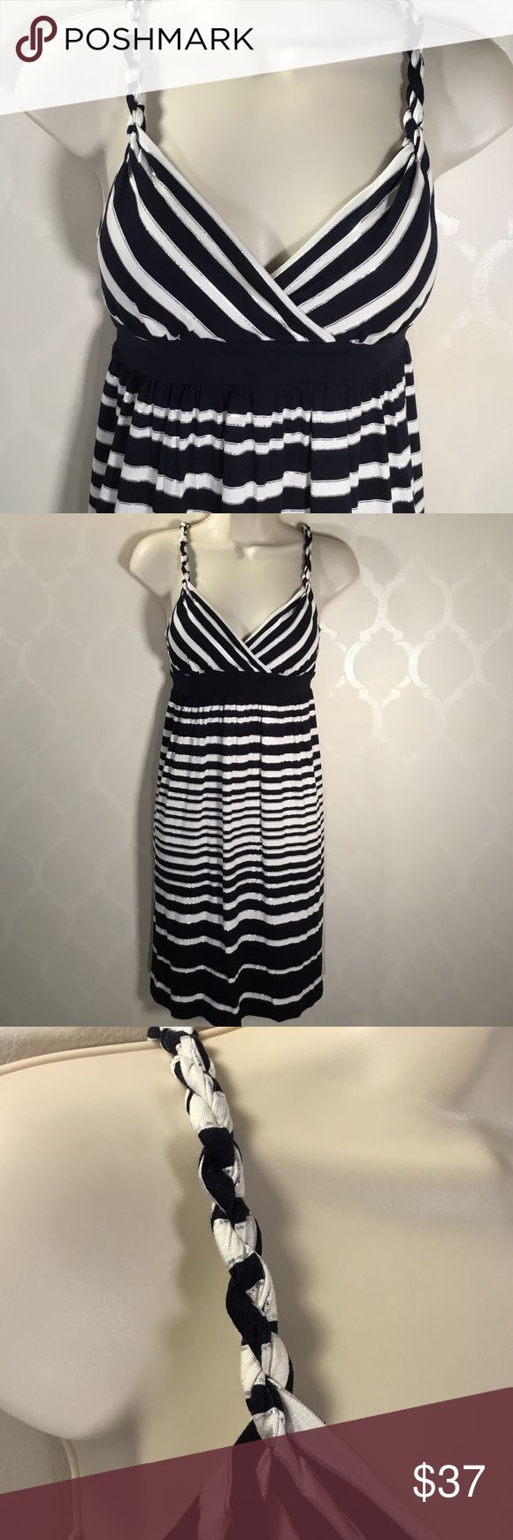 INC NAVY STRIPED DRESS INC Dress ➖ Striped in Navy, White & Silver Foil ➖ Padding in Bra ➖ Twisted Straps ➖ Pull on Style INC International Concepts Dresses