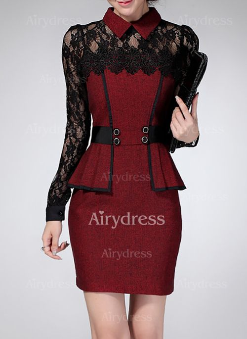 3f2ea1fdb Vestidos Elegante Sobre las rodillas Manga larga Bloque de color Encaje -  Airydress