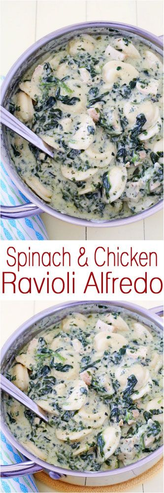 Spinach & Chicken Ravioli Alfredo