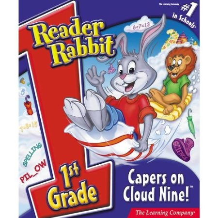 http://softwarebastion.com/childrens-software/early-learning/reader-rabbit-1st-grade-capers-on-cloud-nine-download-com/  What's up with the weather? Fly up to Cloud Nine with Reader Rabbit and friends to discover why it's raining umbrellas, raincoats, and galoshes!
