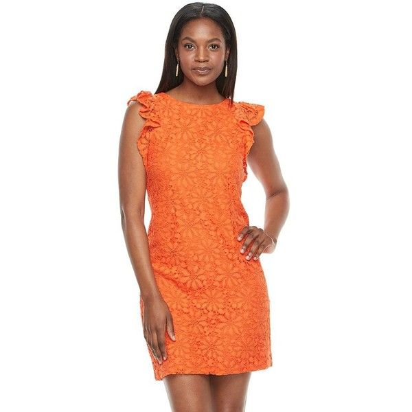Women's Suite 7 Daisy Lace Shift Dress ($77) ❤ liked on Polyvore featuring dresses, orange, formal shift dress, lace formal dresses, lace ruffle dress, shift dress and lace dress