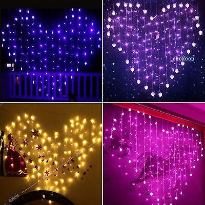 Herz LED Vorhang Lichterkette Weihnachts Hochzeit Schlafzimmer Wand Eiszapfen in Möbel & Wohnen, Beleuchtung, Lichtschläuche & -ketten | eBay