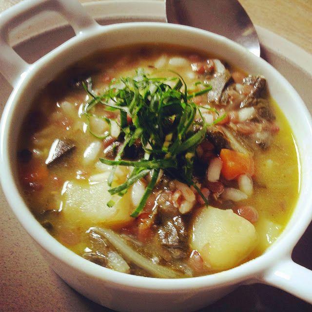 minestra di riso con bietola e lenticchie