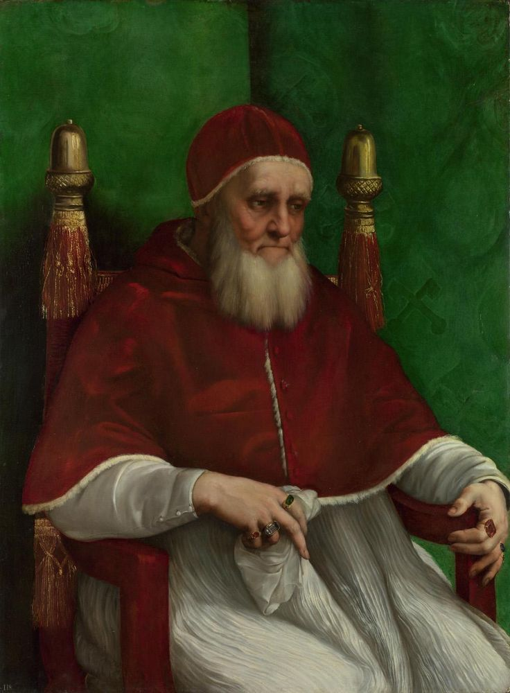 Portrait of Pope Julius II // 1511 // Raphael // The National Gallery, Trafalgar Square, London #Papa #Pope