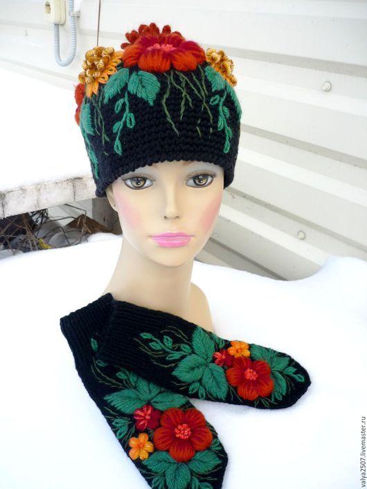 Комплекты аксессуаров ручной работы. Ярмарка Мастеров - ручная работа. Купить комплект шапка с варежками. Handmade. Комбинированный, разнообразные