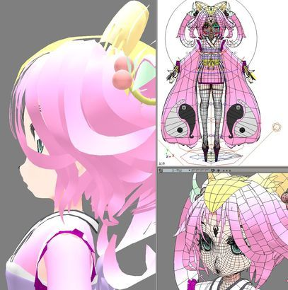 3d anime girl softimage Nikoni body and hair