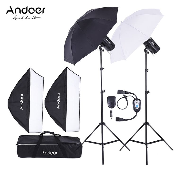 Russia  Andoer MD-300 600W (300W * 2) Photo Studio Kit Strobe Flash Light Softbox Lighting Kit for Video Shooting //Price: $231.06//     #electonics