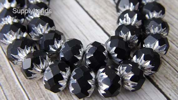 Black Silver Cruller Beads Czech Beads Black Beads by SupplyBeads