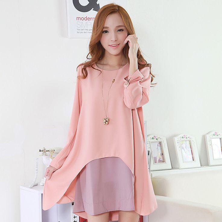 Korean Fashion Slim Long Sleeve Chiffon Dress