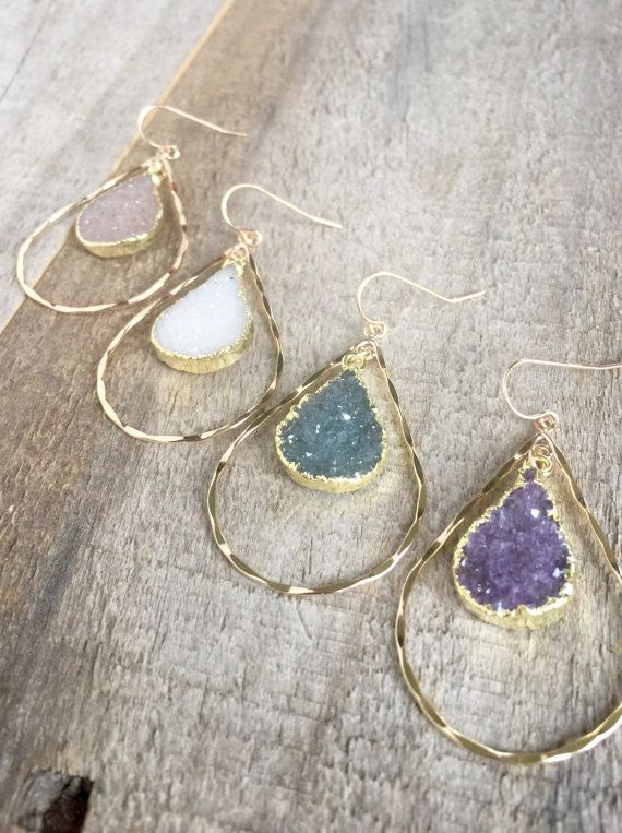 YOUR CHOICE! Glittering natural jasper quartz druzy drops dance from within hammered 14K gold fill hoops to create these beautiful statement earrings.