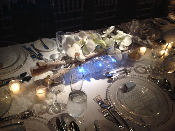 Thinking out of the box for a winter wedding centrepiece
