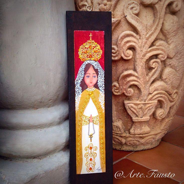 Cuadro: Virgen del Valle, pintura al frío sobre madera (chapa sobre MDF 45X11). @Arte.Fausto
