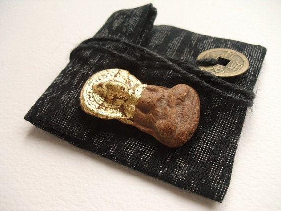 Sweet Buddha Pocket Shrine Vintage Buddhist clay by GaneshasRat