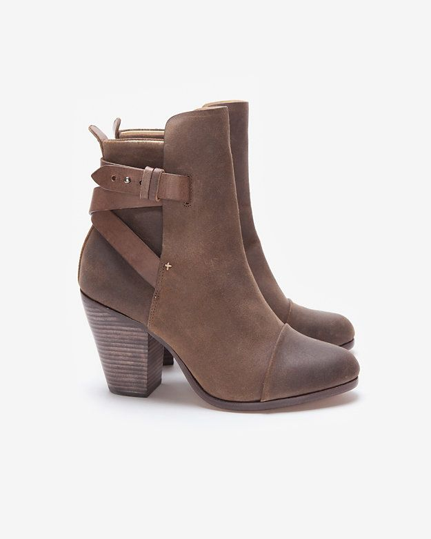 rag & bone Kinsey Brown Waxed Suede Ankle Boot