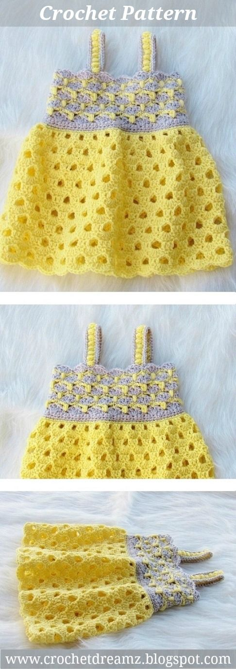 Crochet Baby Dress Pattern with Two Unique Stitches, Sunshine Dress