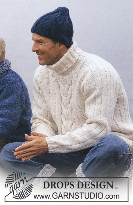 A classic pullover for men with cables in #dropsdesign Alaska that will never be out of style! #knitting