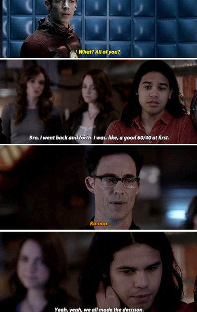 """""""We all made the decision"""" - Cisco, Jesse, Wells, Caitlin and Barry #TheFlash"""