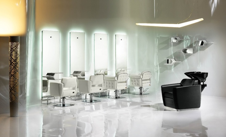 Zone Wash Unit, Londra Optima Styling Chair, Zone Styling Chair, Ykon Shelf Styling Unit  http://pietranera.com/html/vediambientazioni_all.html?lng=it_lang=1