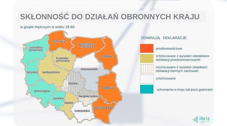 Mapka przedstawiająca skłonność do obrony kraju. Co ciekawe bardzo przypomina mapę wyników wyborów. Wymowne