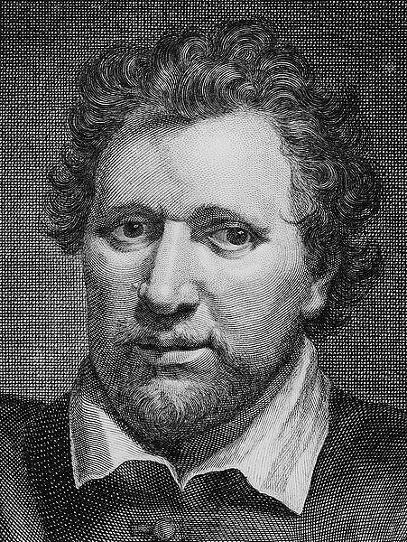 English playwright, poet, and actor Ben Jonson (1572-1637) by George Vertue (1684-1786) after Gerard van Honthorst (1590-1656)