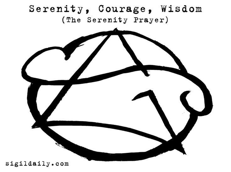"""The Serenity Prayer: Serenity, Courage, Wisdom."" Brush and ink.                                                                                                                                                     More"