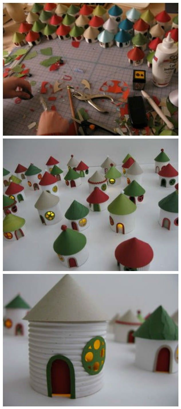 Adorable village entirely made from recycled toilet paper rolls.