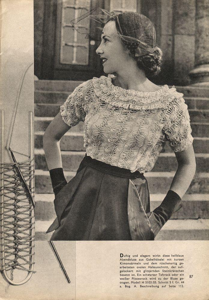 """Hairpin Lace Blouse """"Beyers Handarbeit und Wäsche"""" 3/1951"""