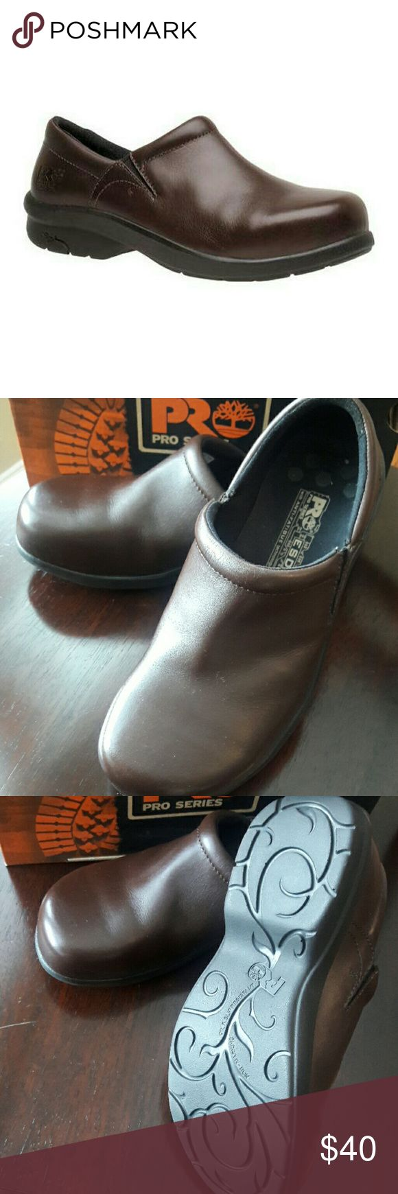 Timberland Safety toe shoes Timberland Pro Series Newbury ESD slip-on alloy safety toe shoes in Brown.  It is size 9.5 but fits also like a 10.  It has powerful comfort system, anti-fatigue technology.  New in box. Timberland Shoes Mules & Clogs