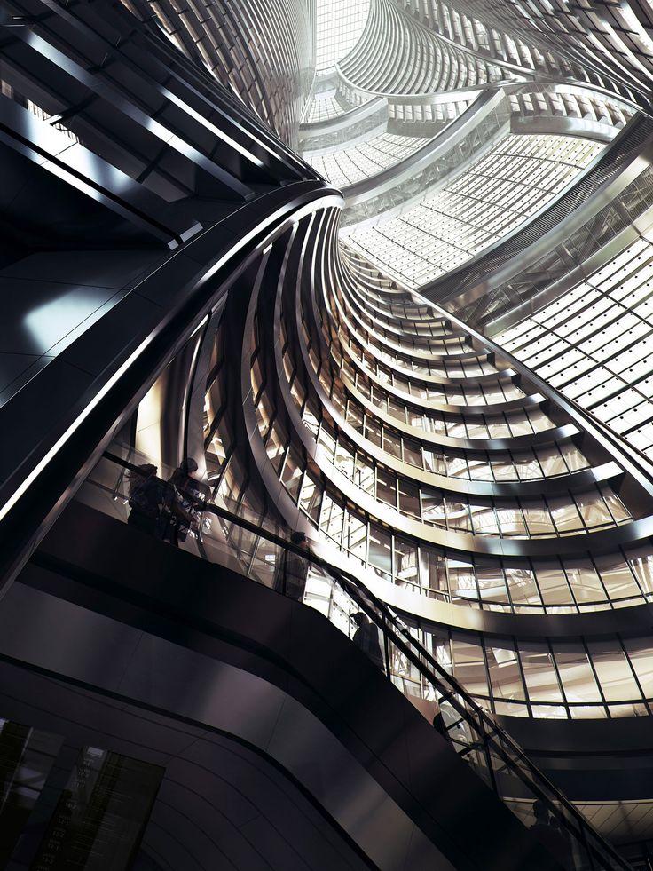 La torre Leeza Sohose encuentra justo encima de una nueva estación de intercambio en eldistrito financiero de Lize yse eleva como un solo volumen dividido en dos mitades a ambos lados del túnel …