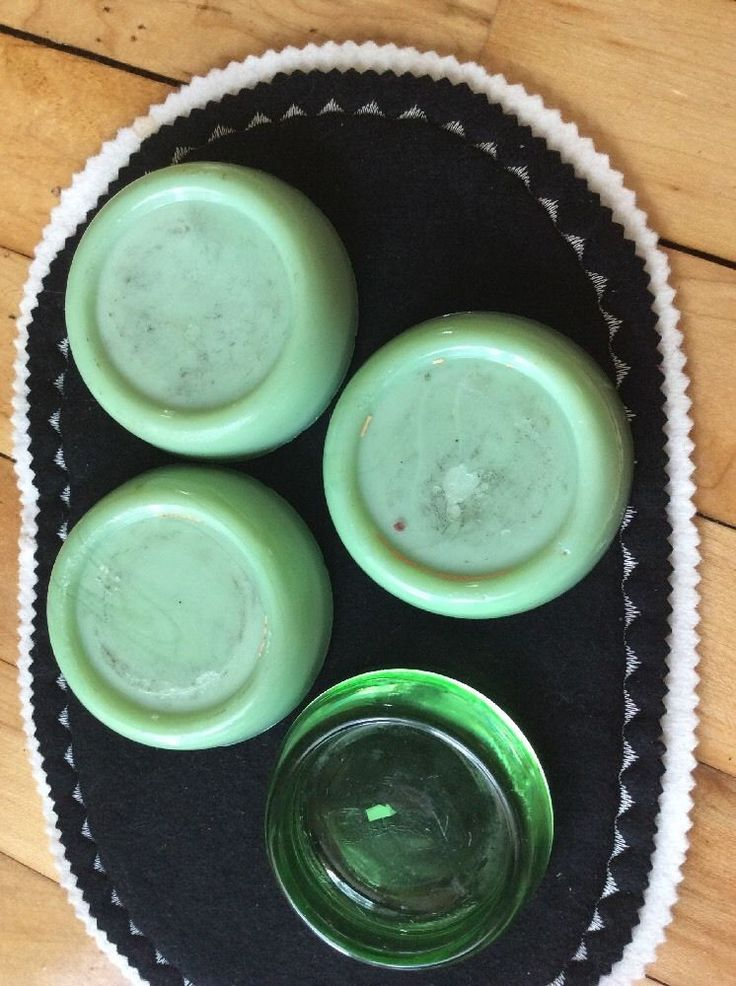 Details about 3 VINTAGE JADEITE GLASS FURNITURE COASTERS/FLOOR PROTECTORS