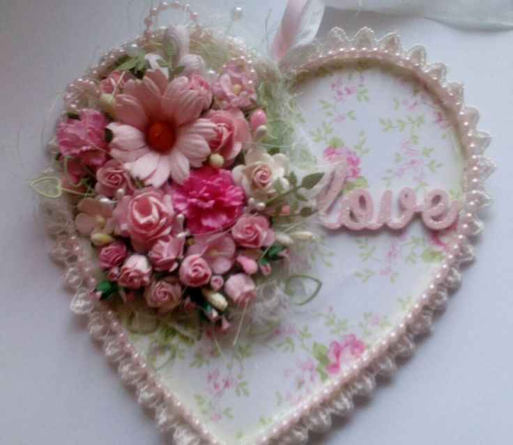 MDF heart, decorated with Bella Rose papers and Wild Orchid Crafts Flowers