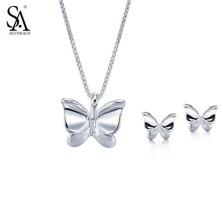 SILVERAGE 925 Sterling Silver Jewelry Sets for Women Necklaces Pendants Stud Earrings Fine Jewelry Butterfly 2017 Hot Sale