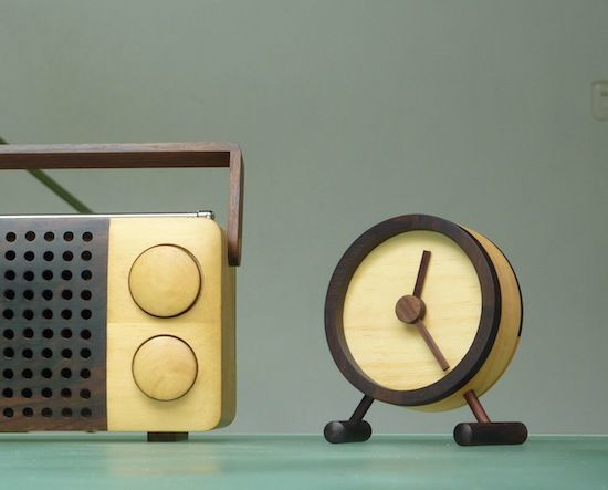 Wood radio and clock