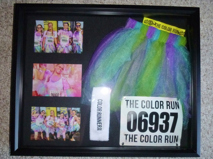 This would be fun to frame part of your costume for any race!  Color Run 5k shadowbox! My race bib, wrist band, sweat band, part of my tutu, and 3 awesome pictures