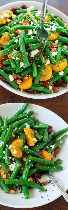 This Green Bean and Quinoa Salad with Maple Citrus Dressing recipe can easily be made in advance for a tasty holiday side dish that's sure to impress! Perfect for Thanksgiving!