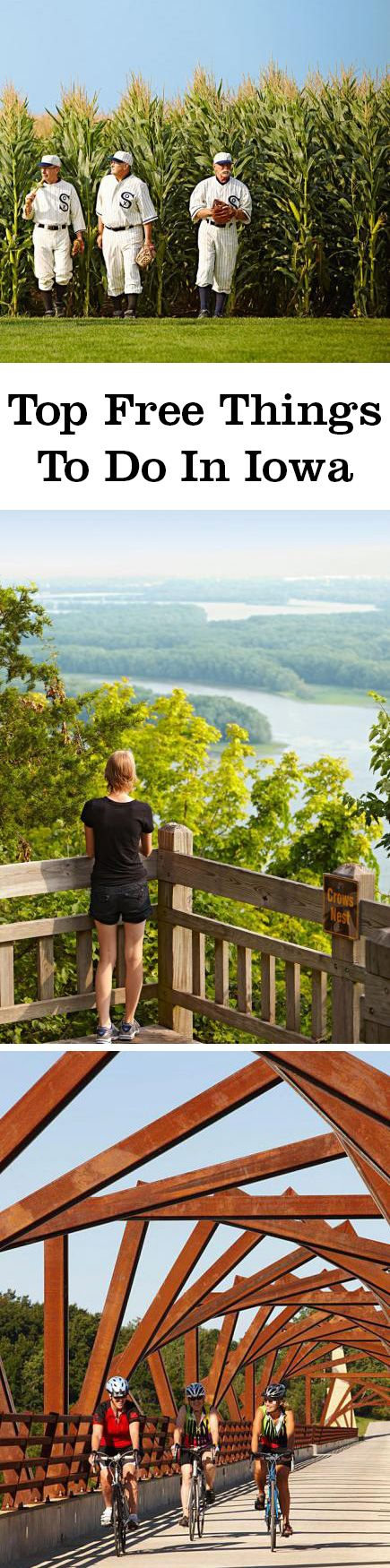 The Des Moines Art Center, Dubuque arboretum, American Gothic House Center and all state parks are just some of the free things to do in Iowa.