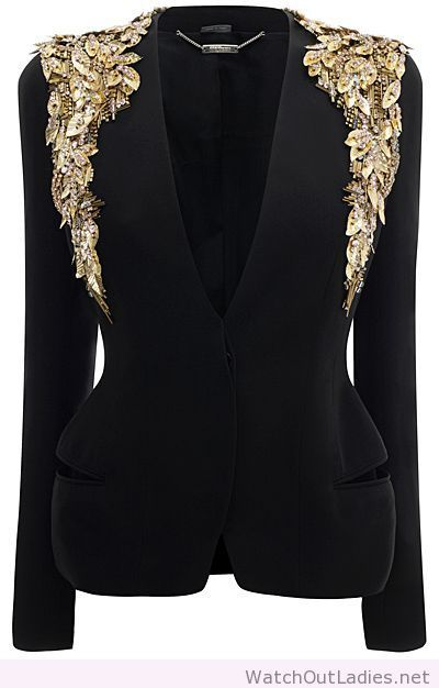 Alexander McQueen black and gold blazer
