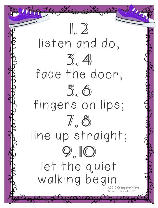 """1, 2 listen and do; 3, 4 face the door; 5, 6 fingers on lips; 7, 8 line up straight; 9, 10 let the quiet walking begin."" 5 Quick Hallway Transitions for Kindergarten {Free Printables}"