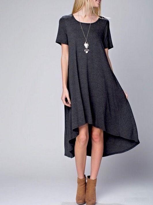 SOUTHERN GIRL FASHION $58 Classic High Low Swing Dress Bohemian Solid Midi Tunic #Boutique #Tunic #Casual