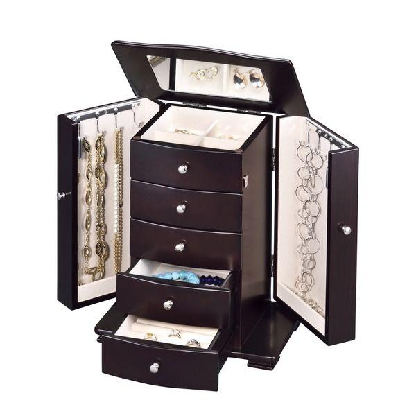 Dark Wood Tall Jewelry Box