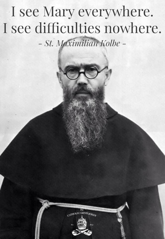 Saint Maximilian Kolbe had a true love for Mary. Behold Thy Mother an English/Latins Scriptural Rosary is filled with writings by the saints in defense our Blessed Mother. Check it out at: www.beholdthymother.com