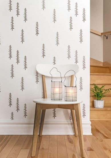 Siberian Taiga Scandinavian Wall Stencil, Decorative Tree Stencil for DIY project, Wallpaper look and easy Home Decor, Ethnic, Tribal style