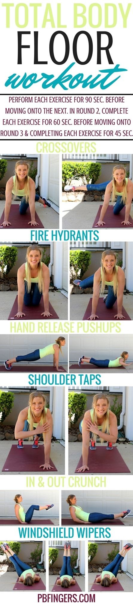 Total Body FLOOR WORKOUT http://www.pbfingers.com/slug This Total Body Floor Workout is perfect for days when you don't have any equipment to work with and cannot make any noise during a workout! It's a totally silent workout that will work your upper body, lower body and core through three rounds of exercises that will have your muscles feeling the burn!