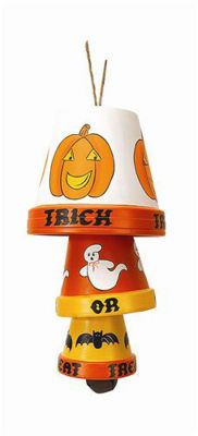 Halloween clay pot wind chime