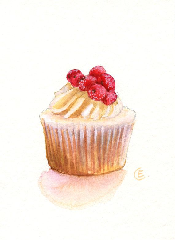 Cupcake 27 - Original Watercolor Painting 7x5 inches. $22.00, via Etsy.