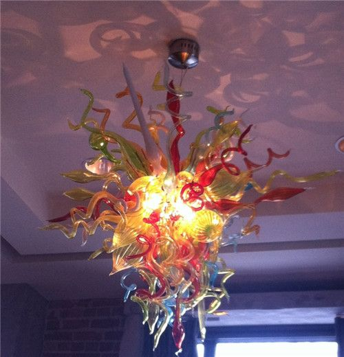 Top Design Colored Handmade Blown Glass Small Chandelier for Livingroom Decoration