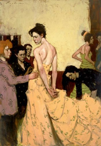 Fixing the Gown | Malcolm T. Liepke | The Emotional Connection in Figure Paintings | Artist Daily | Oil Painting